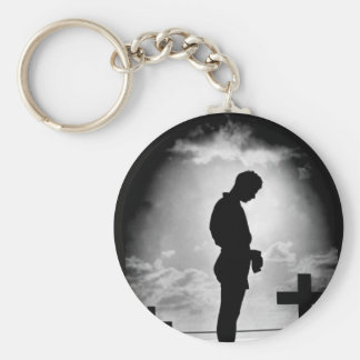Silhouetted in the golden glory_War Image Basic Round Button Keychain
