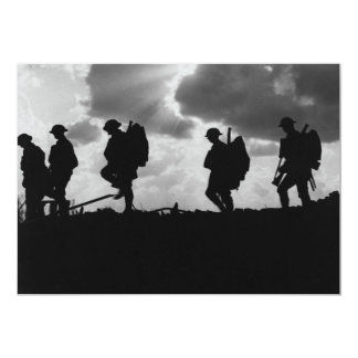 """Silhouetted Marching World War I Soldiers (1917) 5"""" X 7"""" Invitation Card"""