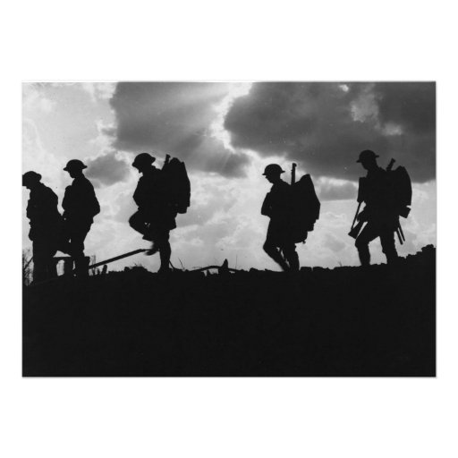 Silhouetted Marching World War I Soldiers (1917) Custom Invitations
