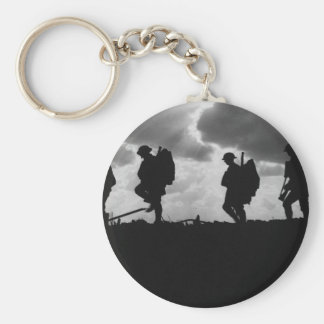 Silhouetted Marching World War I Soldiers 1917 Key Chains
