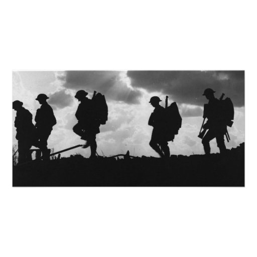 Silhouetted Marching World War I Soldiers (1917) Photo Greeting Card