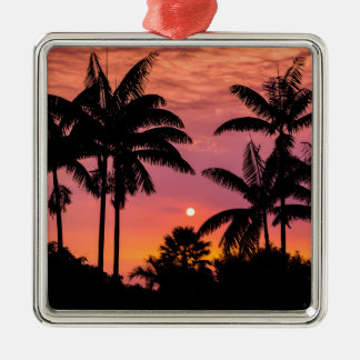 Silhouetted palm trees, Hawaii Metal Ornament