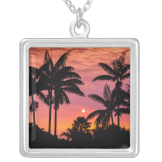 Silhouetted palm trees, Hawaii Silver Plated Necklace