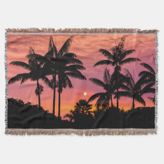 Silhouetted palm trees, Hawaii Throw Blanket