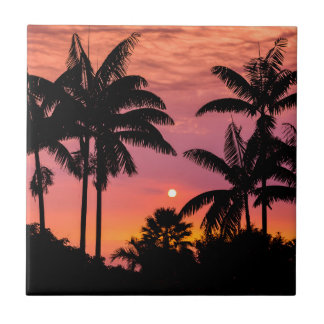Silhouetted palm trees, Hawaii Tiles