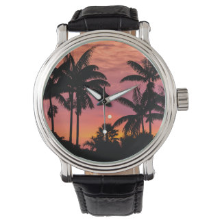 Silhouetted palm trees, Hawaii Wrist Watches