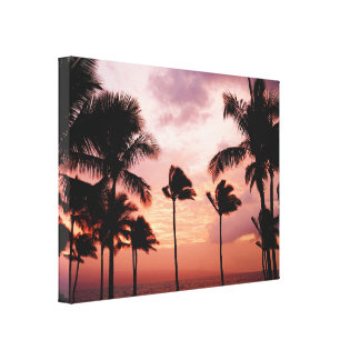 Silhouetted Palm Trees Orange Sky Canvas Print