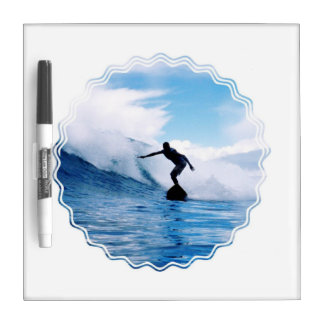 Silhouetted Surfer Dry Erase Board