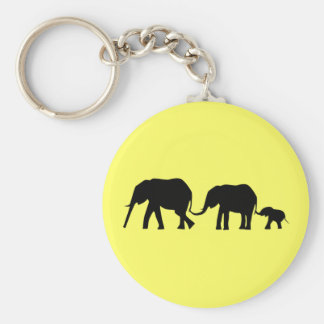 Silhouettes de 3 éléphants tenant des queues porte-clé rond