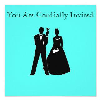Silhouettes de jeune mariée et de marié sur le carton d'invitation  13,33 cm