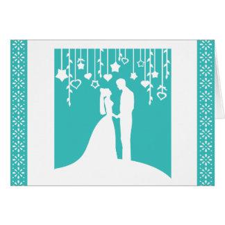 Silhouettes de mariage de jeunes mariés d'Aqua Carte De Vœux