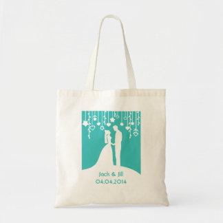 Silhouettes de mariage de jeunes mariés d'Aqua Sac En Toile Budget