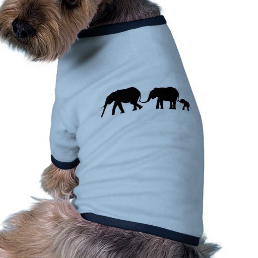 Silhouettes of 3 Elephants Holding Tails Pet Shirt