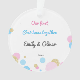 Silings Girl Boy First Christmas Ornament Confetti