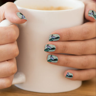 Silk Blue Hummingbird Nails Minx Nail Art