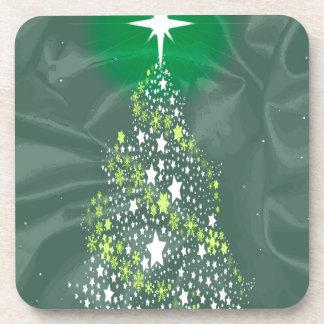 Silk Christmas Tree Beverage Coasters