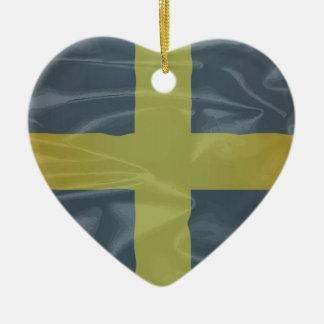 Silk Flag of Saint David Of Wales Ceramic Heart Ornament