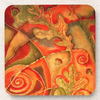 Silk painted Acorn Oak Leaf Coaster by Cyn Mc