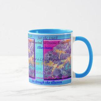 Silk Painted Dragonfly Affirmation Mug