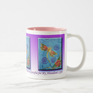 Silk Painted Dragonfly Gratitude Mug by Cyn Mc
