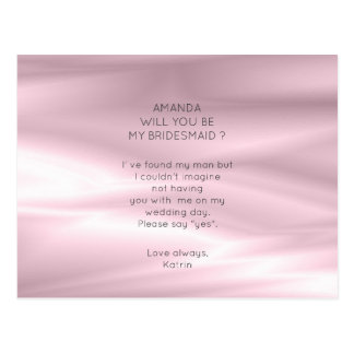 Silk Pearly Lilac Purple Will You Be My Bridesmaid Postcard