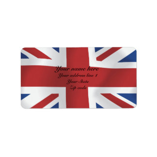 Silk style Union Jack British Flag Label