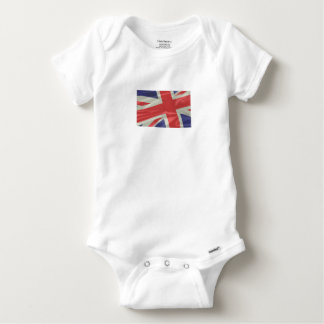 Silk Union Jack Flag Closeup Baby Onesie