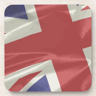 Silk Union Jack Flag Closeup Beverage Coaster