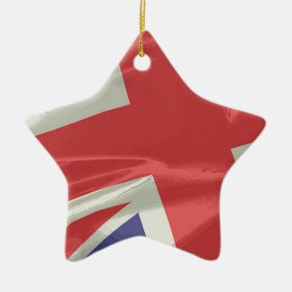 Silk Union Jack Flag Closeup Ceramic Ornament