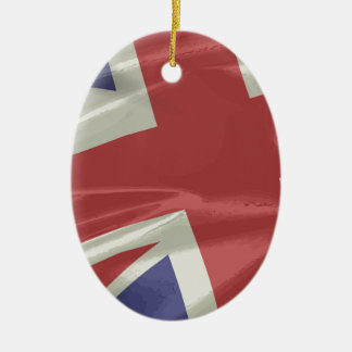 Silk Union Jack Flag Closeup Ceramic Ornament