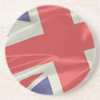 Silk Union Jack Flag Closeup Drink Coasters