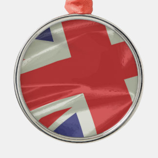Silk Union Jack Flag Closeup Metal Ornament
