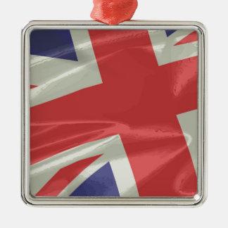 Silk Union Jack Flag Closeup Metal Ornament