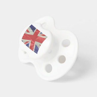 Silk Union Jack Flag Closeup Pacifier