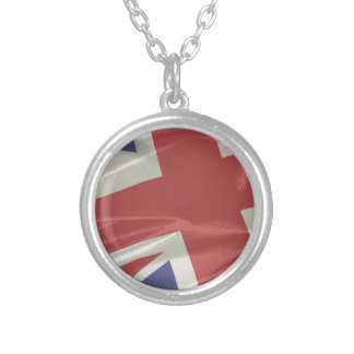 Silk Union Jack Flag Closeup Silver Plated Necklace