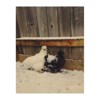 Silkie Chickens 1st Snow Wood Print