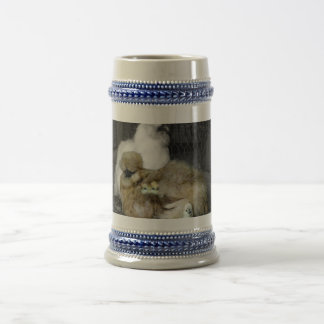 Silkie Hens with Chicks Peeking out of Feathers Beer Stein