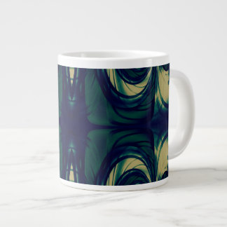 Silky Abstract - Dark Blue, Beige, and Green Large Coffee Mug