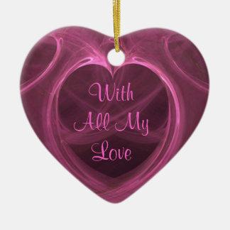 Silky Pink Heart Keepsake Ceramic Heart Ornament