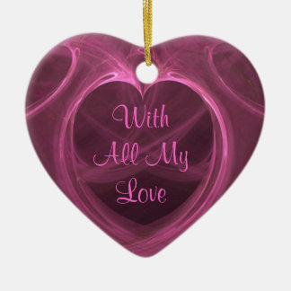 Silky Pink Heart Keepsake Ceramic Ornament