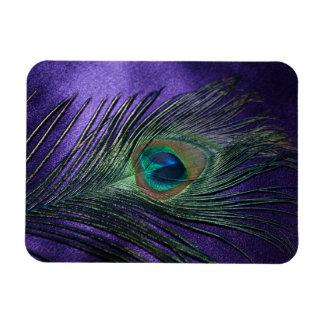 Silky Purple Peacock Feather Rectangular Photo Magnet
