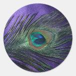 Silky Purple Peacock Feather Round Sticker