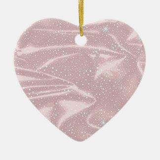 Silky Snow WInter Background Ceramic Heart Ornament