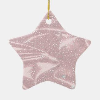 Silky Snow WInter Background Ceramic Star Ornament