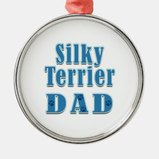 Silky Terrier Dad Silver-Colored Round Ornament