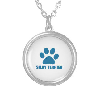 SILKY TERRIER DOG DESIGNS SILVER PLATED NECKLACE