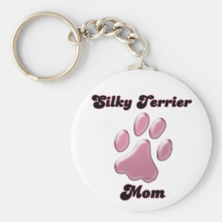 Silky Terrier Mom Pink Pawprint Keychain