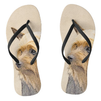 Silky Terrier Painting - Cute Original Dog Art Flip Flops