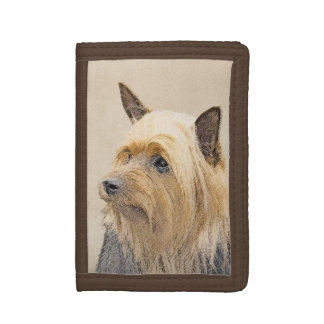 Silky Terrier Painting - Cute Original Dog Art Trifold Wallet