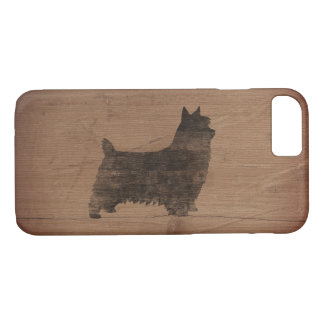 Silky Terrier Silhouette Rustic iPhone 7 Case